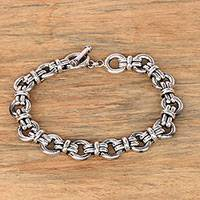 Men's sterling silver link bracelet, 'Wanen Links' - Men's Sterling Silver Link Bracelet Crafted in Bali