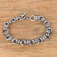Mens sterling silver link bracelet Wanen Links (Indonesia)