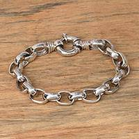 Men's sterling silver chain bracelet, 'Cager Links' - Men's Sterling Silver Chain Bracelet from Bali