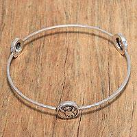 Sterling silver bangle bracelet, 'Angel Beagle' - Angel Puppy Sterling Silver Bangle Bracelet from Bali
