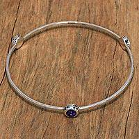 Amethyst bangle bracelet, 'Amethyst Paws' - Paw Print Amethyst Bangle Bracelet from Bali