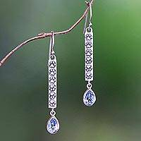 Blue topaz dangle earrings, 'Go For a Walk' - Animal-Themed Blue Topaz Dangle Earrings from Bali