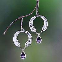 Amethyst dangle earrings, 'Playful Paws' - Animal-Themed Circular Amethyst Dangle Earrings from Bali