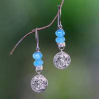 Chalcedony dangle earrings, 'Angelic Puppies' - Dog-Themed Chalcedony Dangle Earrings from Bali