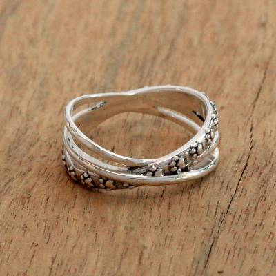 Sterling silver band ring, 'Paw Dimension' - Paw Print Sterling Silver Band Ring from Bali