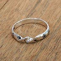 Sterling silver band ring, 'Animal Twist' - Sterling Silver Band Ring with Paw Print Motifs from Bali