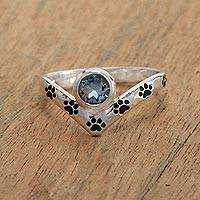 Blue topaz cocktail ring, 'Puppy Chevron' - Paw Print Blue Topaz Cocktail Ring from Bali