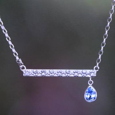 Blue topaz pendant necklace, Go For a Walk