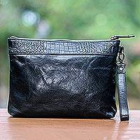 Leather wristlet, 'Jogja Guardian in Black' - Handmade Black Leather Wristlet with Interior Pockets