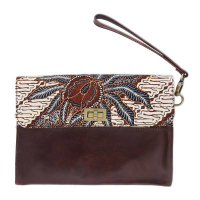 Brown Leather Wristlet with Cotton Batik Flap