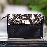 Leather and cotton batik wristlet, 'Parang Mosaic' - Leather and Cotton Wristlet with Parang Motifs in Brown