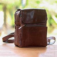 Leather backpack, 'Chic Trekker' - Handcrafted Leather Backpack Purse with Zippered Pockets