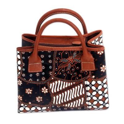 Black and Buff Hand Painted Javanese Motifs Leather Handbag