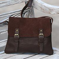 Leather messenger bag Espresso Sophistication (Indonesia)