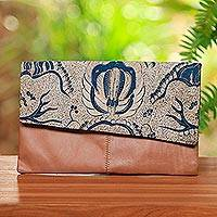 Batik cotton accent leather clutch, 'Bali Latte' - Batik Cotton Accent Leather Clutch from Bali