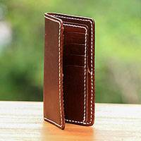 Leather wallet, 'Chocolate Bar' - Handcrafted Brown Leather Wallet from Indonesia
