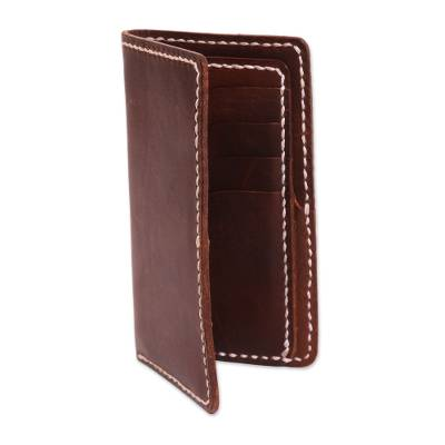 Handcrafted Brown Leather Wallet from Indonesia