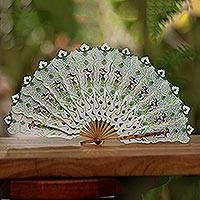 Leather fan, 'Srikandi's Wind' - Cream with Green and Golden Accent Leather Parchment Fan