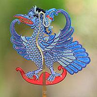 Leather shadow puppet, 'Blue Jatayu' - Hand-Painted Leather Ramayana Jatayu Bird Shadow Puppet