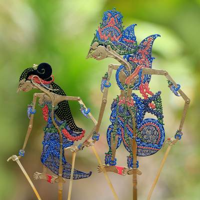 Leather shadow puppets, 'Majestic Rama and Sita' (pair) - Hand-Painted Leather Rama and Sita Pair of Shadow Puppets