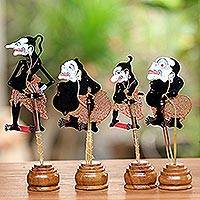 Leather shadow puppets, 'The Punokawans in Black' (set of 4) - Black and Red Punokawan Leather Shadow Puppets (Set of 4)