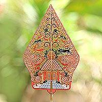 Leather shadow puppet, 'Gunungan Kayon' - Handcrafted Colorful Leather Decorative Shadow Puppet