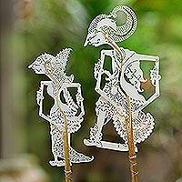 Leather shadow puppets, 'Kamajaya in Buff' (pair) - Kamajaya and Kamaratih Buff Parchment Shadow Puppets (Pair)