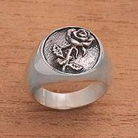 Sterling silver signet ring, 'Single Rose' - Handcrafted Single Blooming Rose Sterling Silver Signet Ring