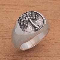 Sterling silver signet ring, 'Stately Palm' - Handcrafted Palm Tree Sterling Silver Signet Ring from Bali