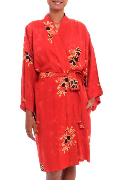 Crimson Rayon Robe with Black Floral Motifs from Bali