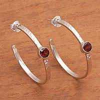 Garnet half-hoop earrings, 'Pretty Paradox' - Sterling Silver Hammered Garnet Half-Hoop Earrings