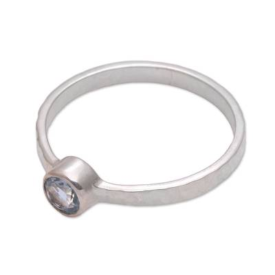 Blue topaz solitaire ring, 'Pretty Paradox' - Blue Topaz and Hammered Sterling Silver Solitaire Ring