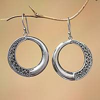 Sterling silver dangle earrings, 'Pura Circles' - Circular Sterling Silver Dangle Earrings from Bali