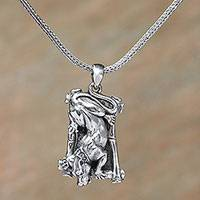 Men's sterling silver pendant necklace, 'Wild Panther' - Men's Sterling Silver Wild Panther Pendant Necklace