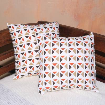 Cotton cushion covers, 'Cozy Afternoon' (pair) - Pair of Contemporary Geometric Motif Cotton Cushion Covers