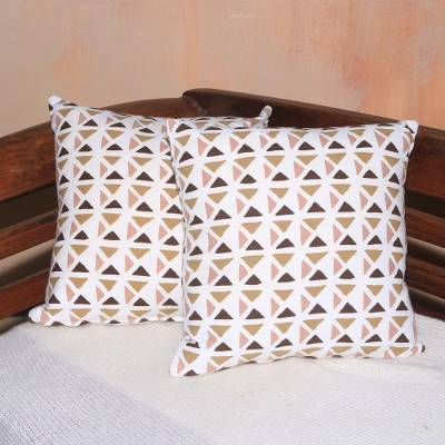 Cotton cushion covers, 'Cozy Morning' (pair) - Pair of Contemporary Geometric Motif Cotton Cushion Covers