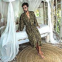 Men's cotton robe, 'Green Moss' - Men's Printed Cotton Robe in Green from Bali
