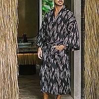 Men's cotton robe, 'Pebble River' - Men's Printed cotton Robe from Bali