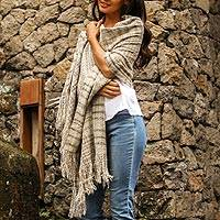 Cotton shawl, 'Sand Plaid' - Ivory and Grey Plaid 100% Cotton Lightweight Textured Shawl