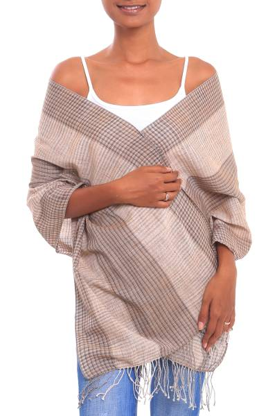 Cotton shawl, 'Masceti Plaid' - Handwoven Cotton Shawl in Beige and Brown from Bali