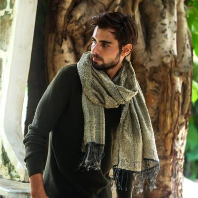 Men's cotton shawl, 'River's Edge' - Men's Olive Green and Ochre Handwoven Cotton Fringed Shawl