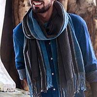 Men's cotton shawl, 'Cooling Rain' - Men's Grey and Cadet Blue Lightweight Handwoven Cotton Shawl