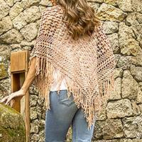 Cotton shawl, 'Tegalalang Palace in Camel' - Hand-Crocheted Cotton Shawl in Camel from Bali