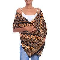 Batik cotton scarf, 'Burnt Sienna Parang' - Parang Motif Batik Cotton Scarf in Burnt Sienna from Java
