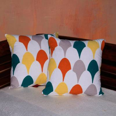 Cotton cushion covers, 'Abstract Fireworks' (pair) - Colorful Pair of Cotton Cushion Covers from Bali