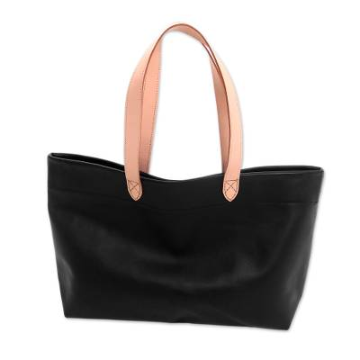 Handcrafted Black Leather Tote Bag with Cream Straps