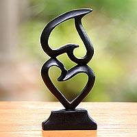 Wood sculpture, 'Stacking Hearts' - Heart Motif Suar Wood Sculpture from Bali