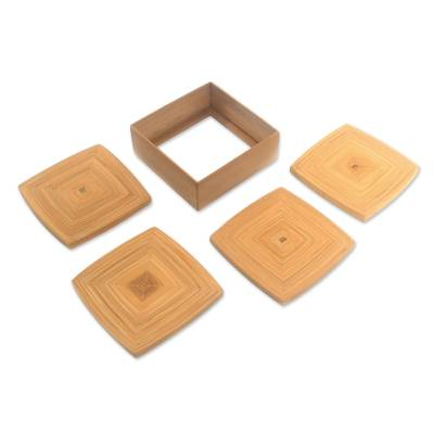 Square Bamboo Coasters from Java (Set of 4)