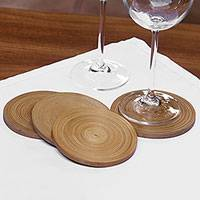 Bamboo coasters, 'Round Yogyakarta' (set of 4) - Circular Bamboo Coasters from Java (Set of 4)