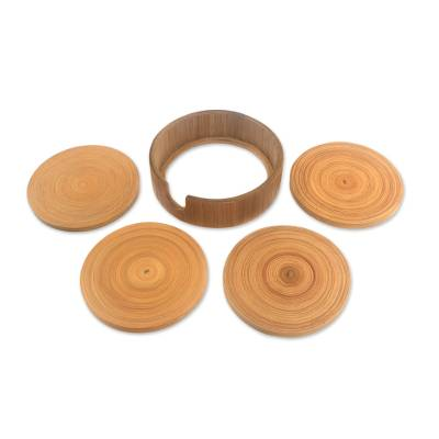 Circular Bamboo Coasters from Java (Set of 4)